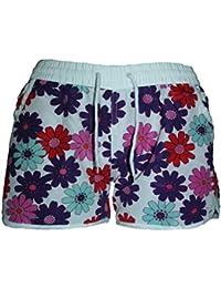BEACH STAR Damen Badeshorts VERSCHIEDENE FARBEN mit Blumen Hawaii Muster Karo, Hot Pants, Hipster Größen M=36 L=38 XL=40