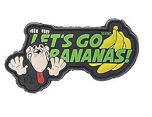 Ecusson Patch En Pvc 3d Let's Go Bananas Avec Velcro 3808 Airsoft Deco Sac Veste Trousse Blouson Casquette Casque Scratch
