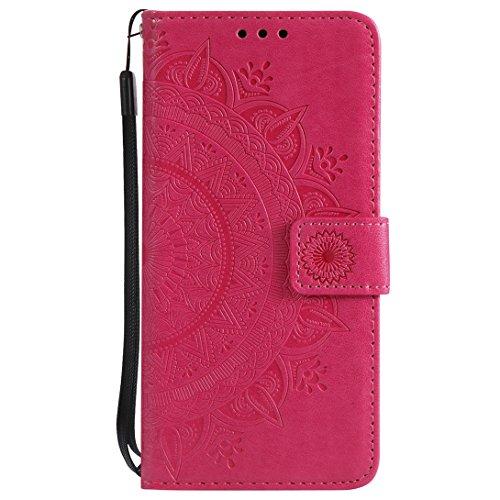 (Pheant Sony Xperia L2 Hülle Schutzhülle Rot Klapphülle mit Standfunktion Kartenfach und Magnetverschluss Sonnenblume Prägemuster Design PU Leder Tasche Silikon Innenschale)