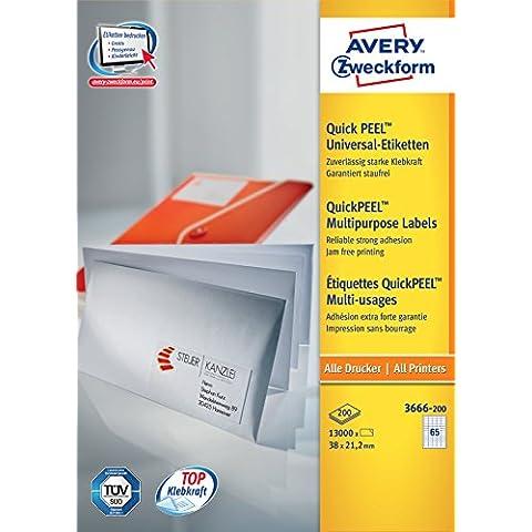 Avery 3666-200 - Etiqueta autoadhesiva (Color blanco, Papel)