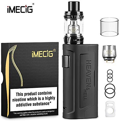 IMECIG H2 E Zigarette Starter Set 90W Box Mod Kit, Top Refill 0.15ohm/2ml Verdampfer Tank, Dampfer Vape Starterset ohne 18650 Akku, ohne Nikotin, Schwarz (MEHRWEG-VERPACKUNG)
