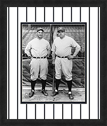 MLB New York Yankees Lou Gehrig & Mickey Mantle 16x20-Inch Full Color Logo Mat Photograph, White
