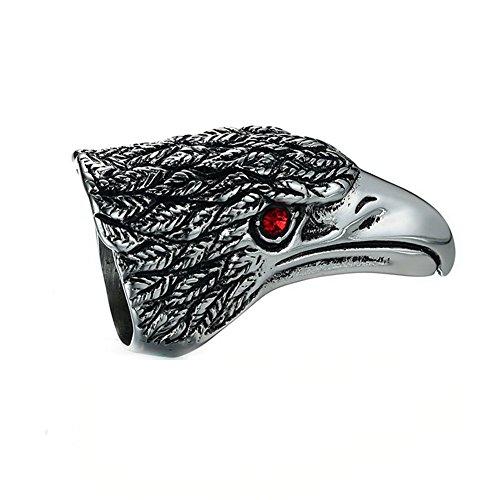 JAJAFOOK uomo in acciaio INOX punk gotico Rocking personalità testa d' aquila anelli nero argento e acciaio inossidabile, 69 (22.0), colore: Nero, cod. TH-1031006