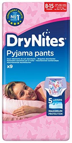 Huggies DryNites Mädchen Nachthöschen, 8-15 Jahren, 9 Stück (Höschen Windel)