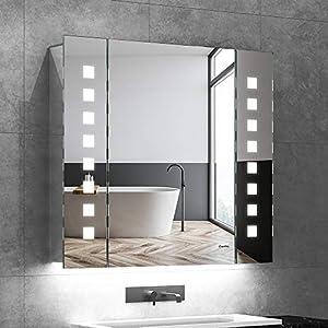 Quavikey LED Spiegelschrank 65x60cm Badezimmer Spiegelschrank mit Beleuchtung Aluminium Lichtspiegelschrank Hinterbeleuchtung Rasier Steckdose Antibeschlag IR-Sensor Schalter Soft-Close-Funktion
