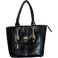 KMK International Black Leather Handbags for Girls and Women