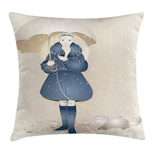 Faux Silk Coat (KAKICS Umbrella Throw Pillow Cushion Cover, Hand Drawn Sketch Style Curly Haired Girl in a Coat with a Dog on a Leash, Decorative Square Accent Pillow Case, 18 X 18 inches, Dark Blue and Cream)