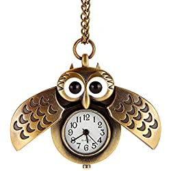 AWStech Vintage Lovely Cartoon Owl Open Wings Pendant Clock, Bronze Steel Quartz Fob Pocket Watch with Chain, Clothing Dress Collocation, Best Welcome Gift for Lady Women Girl