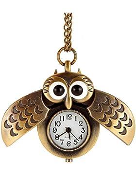 AWStech Lovely Pocket Watch Schön Bronze Silber Tone Eule Quarz Taschenuhr Anhänger mit Länge Kette Halskette,...
