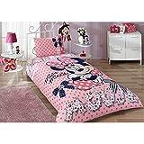 Minnie Mouse Dream Mädchenbettwäsche Einzelbett Bettwäsche Bettdeckenbezug(160x220cm), Bettwäsche 100% Baumwolle mit Bettbezug, Spannbettlacke(100x200cm) und Kissenbezug(50x70cm) Für Mädchen Made in der Türkei