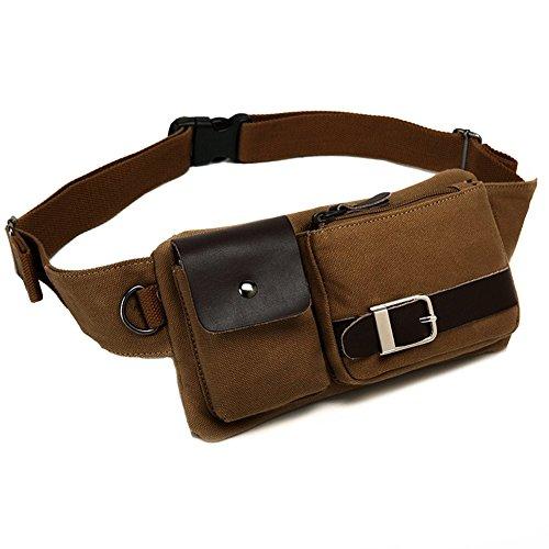BAOSHA YB-01 Vintage Leinwand Gürteltasche Outdoor Sport Hüfttasche Doggy Bag Sportstasche Gürtellinie Waist Bag Hip Pack für Wandern Laufen Radfahren Camping Reise Klettern (Leinwand Kaffee) (1 Hip Bag)