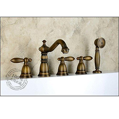 Galvanik Retro Wasserhahn Antik Kupfer Bad 3 Löcher 8 Becken Mode warme und kalte Badezimmer set HY nach -683, Weiß