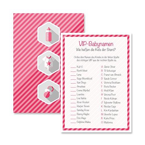 Babyparty Baby Shower Spiel-Set 8 Stück VIP-Babynamen mädchen rosa Partyspiel Quiz Spiel Deko Party Karte Geschenk Spielkarte Artikel von Mia-Félice Decorations (Spielen Bingo-spiel-karte)