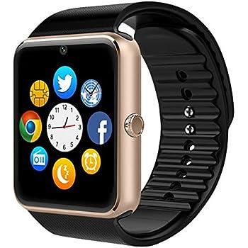 PADGENE Montre Connectée, Smartwatch Bluetooth avec Slot SIM Caméra Podomètre pour Android (Fonctions Complets) Samsung HTC LG Sony Huawei et iOS (Pas APP ...