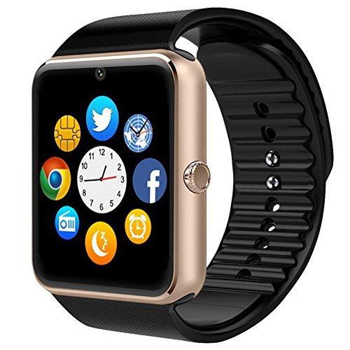 Montre Connectée, Padgene Smartwatch Bluetooth avec Slot SIM Caméra Podomètre pour Android (Fonctions Complets) Samsung HTC LG SONY HUAWEI et iOS (PAS APP pour iPhone, Fonctions Partielles) (Or)