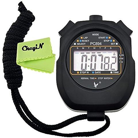 Ckeyin ® Cronometro Timer Digitale per Sport, Nero