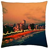 evening on benidorm beach spain - Throw Pillow Cover Case (18' x 18')