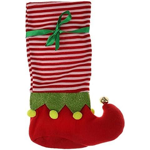 Sostenedor Del Bolso Botella Decoración De Navidad Coloreada Jingle Bell Vino - Rojo+blanco, one