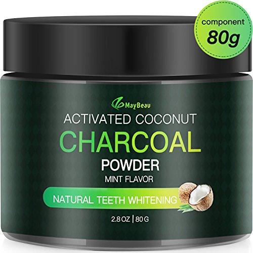 MayBeau Aktivkohle Pulver 1 * 80g Zahnaufhellung Premium Kokosnuss Natürliche Coconut Holzkohle 100% Activated Charcoal Teeth Whitening Powder Zahnreinigung für Weiße Zähne Mint Flavour