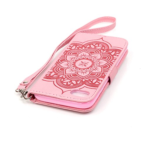 iPhone 7 Hülle,iPhone 7 Ledertasche Handyhülle Brieftasche im BookStyle,SainCat PU Leder Hülle Wallet Case Folio Schutzhülle Vogelfedern Muster Lederhülle Scratch Bumper Handytasche Backcover Handy Ta Campanula Blume-rosa