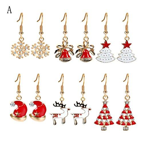 Earrings HKFV 6 Paar Modeschmuck Weihnachten Ohrringe Frauen Tropfen Baumeln Ohrringe Neujahr Weihnachtsohrringe (A) (Vintage Engel Kostüm)