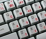 Pegatinas teclado español transparentes con letras ROJAS - Apto para cualquier teclado