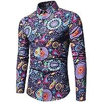 WULIFANG Impresión Floral Camiseta De Manga Larga De Moda Flores Camisa De Hombre Hombres Camiseta Slim Fit Casual Azul XXXL