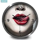 BYLE Uhr Wanduhren Dekoration Stumm nicht tickende Mode sexy Retro Frau E-Bar Cafe Home Decor Wanduhr, 12 Zoll, CG035 der Kurve Snake black Kabel Box Kiss Kiss,