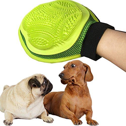 Rainbowsun Hund Fellpflege Handschuh Doppelseitig Massagehandschuh mit TPE Gummi Noppen 19 * 24 cm Grün -