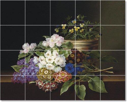 JOHANN LAURENTS JENSEN FLORES AZULEJOS MURAL RESIDENCIAL ART 32X 40CM CON (20) 8X 8AZULEJOS DE CERAMICA
