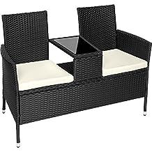TecTake Divano da giardino divanetto tavolino da giardino in polyrattan + cuscini - disponibile in diversi colori - (Nero   No. 401547)