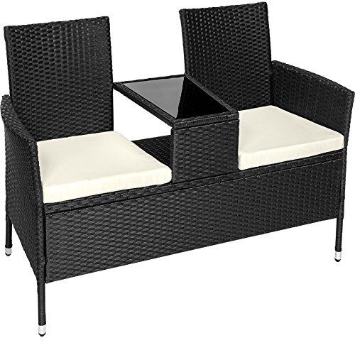 Tectake divano da giardino divanetto tavolino da giardino in polyrattan + cuscini - disponibile in diversi colori - (nero | no. 401547)