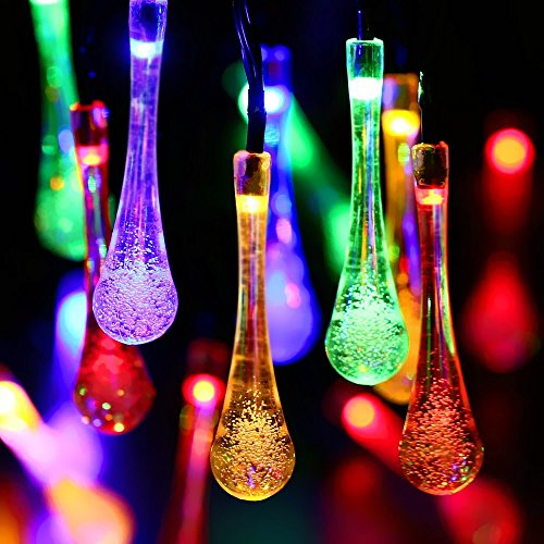 Solar String Lights Water Drop, Outdoor 40 LED Fairy Lights, Waterproof Garden,...