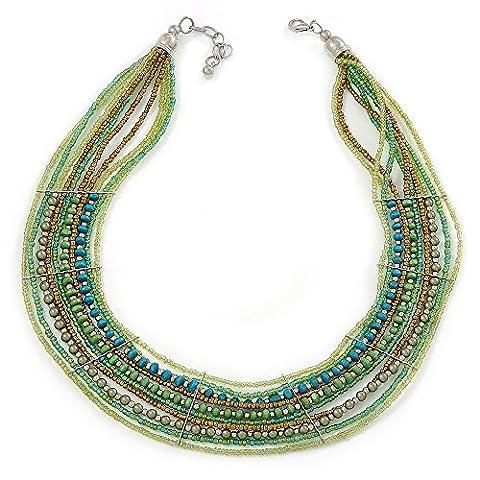 Collier multirang style collier pour chien Vert Perle en Verre en en métal argenté–42cm L/4cm ext