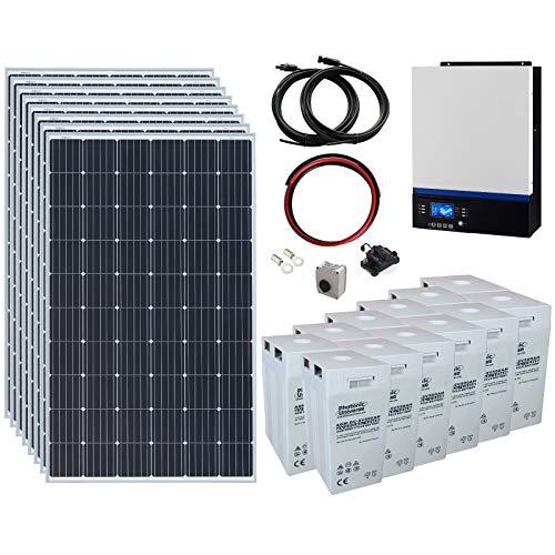 Sistema di alimentazione solare off-grid completo 2,4 kW 24 V con 8 pannelli solari da 300 W, inverter ibrido da 3 kW e batteria esterna da 12 kWh.