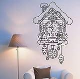 Adesivo murale Orologio a cucù da favola per bambini Camera da letto Cameretta per bambini Scuola materna Home Decor Art Murale Adesivi per finestre in vinile 57x36 cm