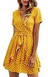 Spec4Y Damen Kleider V Ausschnitt Punkte Sommerkleid Rüschen Kurzarm Minikleid Strandkleid mit Gürtel Gelb S