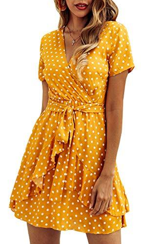 Spec4Y Damen Kleider V Ausschnitt Punkte Sommerkleid Rüschen Kurzarm Minikleid Strandkleid mit Gürtel Gelb L - Hochzeit Strand Kleid Boho