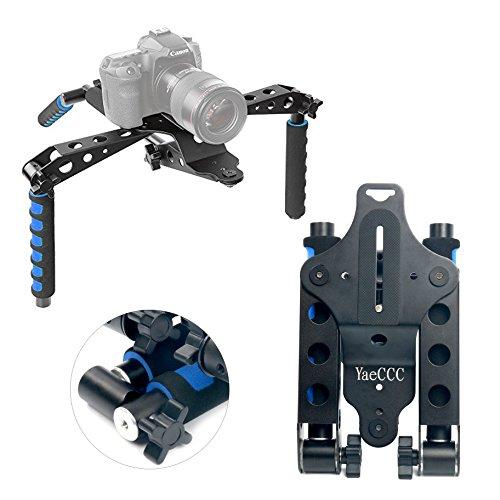 Yaeccc in alluminio lega pieghevole dslr rig movie kit film making sistema di supporto da spalla, stabilizzatore per canon nikon sony fujifilm olympus fotocamere reflex digitali e videocamere