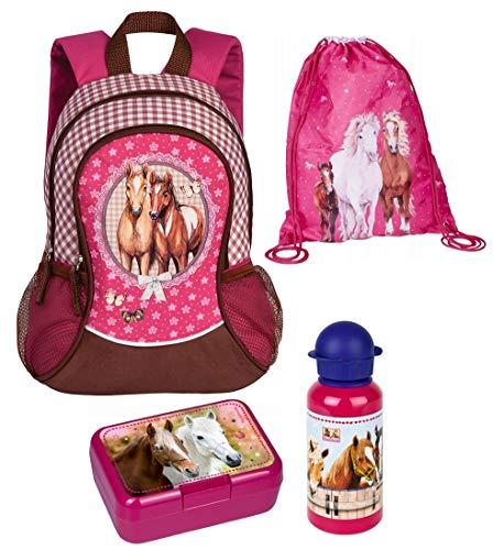 Familando Mädchen-Rucksack 4tlg. Set mit Brotdose, Trinkflasche und Turnbeutel für Kinder-Garten / Krippe Rosa Pferde-Freunde 35x27x12cm