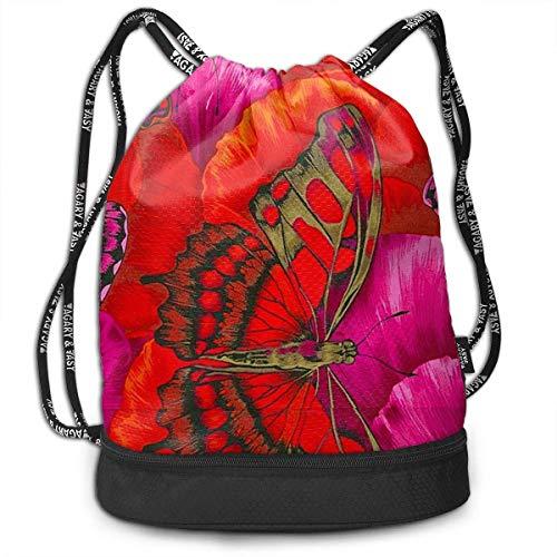 Juziwen Red Butterfly Large Drawstring Sport Backpack Sack Bag ()