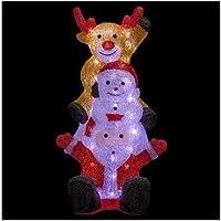 FEERIC CHRISTMAS - Décoration Lumineuse de Noël 60 LED pour Extérieur Père Noël avec Renne et Bonhomme de Neige H 59 cm
