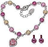 Swarovski Element Kristall Gelb Rosa Saphir Armband Ohrringe Weiß Gold Damen Herz