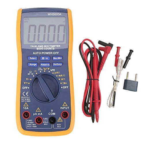 Digital Multimeter,YEESON Advanced Multimeter mit 6000 Counts,True RMS, messen von Spannung, Strom, Widerstand, Durchgang, Frequenz, Tests Dioden, Transistoren, Temperatur, Rot (Digital Multimeter) Multimeter Transistor-test