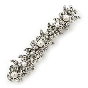 Avalaya Haarspange für Brautschmuck, Hochzeit, Abschlussball, silberfarbene Glasperle, Kristall-Blumen, 90 mm breit