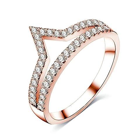 KnSam Bague Femme Princess Couronne Design Clear Cristal Bague Femme Plaqué Or Rose Anneau Élégant Taille 54