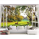 Green Woods Deer3D Wallpaper Stereoscopic Living Room Sofa Tv Background Home Decor Wall Murals Background Wall Environmental Protection Waterproof Material