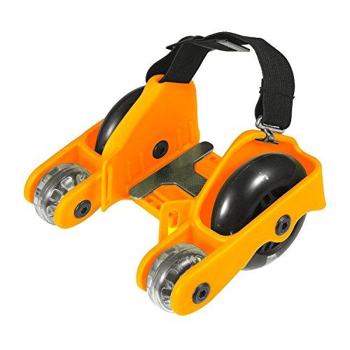 Roller 200lb (Pawaca Aufgerüstet 4 Räder Heel Wheels Rolls Funrollers Mit LED Blinklicht und 200LBS/100kg Limit für Kinder Erwachsene(Orange))