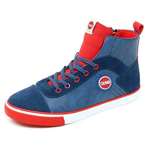 Colmar Sneaker Bleue et Rouge, en Suède et Cuir, avec Fermeture Éclair Latérale, Lacets Élastiques, Logo Sur la Languette, Garçons, Garçon