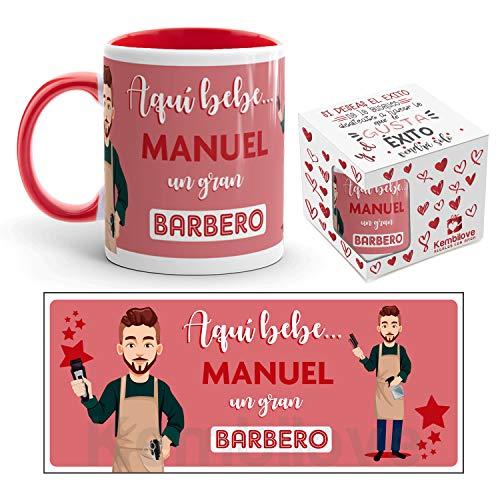 Kembilove Taza de Café del Mejor Barbero del Mundo Personalizada con el Nombre - Taza de Desayuno para la Oficina - Taza de Café y Té para Profesionales - Taza de Cerámica Impresa para Barberos